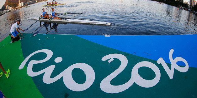 Rio Olympics - Rowing - Lagoa - Rio De Janeiro, Brazil - 01/08/2016. Rowers from Italy train. REUTERS/Ivan...