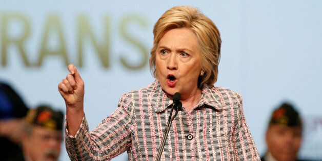 U.S. Democratic presidential candidate Hillary Clinton gestures as she speaks at the Veterans of Foreign...