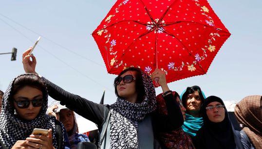 테러직전, 평화롭던 하자라족의 시위 모습