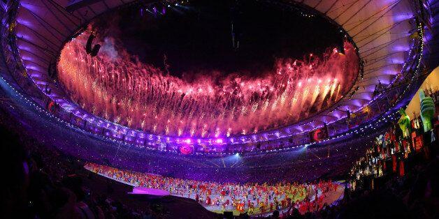 2016 Rio Olympics - Opening ceremony - Maracana - Rio de Janeiro, Brazil - 05/08/2016. Fireworks explode...