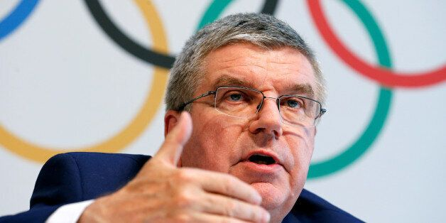 International Olympic Committee (IOC) President Thomas Bach gives a news conference after the Olympic...