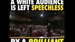 이 연설가의 인종차별에 대한 놀라운 질문이 백인 청중 모두를