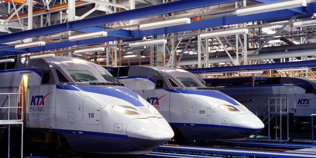 - PHOTO TAKEN DEC03 - The Korean Train Express (KTX) at Koyang base station, about 20 km northwest of...