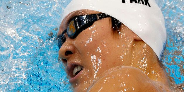 South Korea's Park Tae-Hwan competes in a 1500-meter freestyle swimming heat at the 2012 Summer Olympics,...