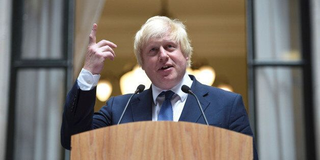 Britain's Foreign Secretary Boris Johnson addresses staff inside the Foreign Office in London, July 14,...