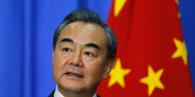 Chinese Foreign Minister Wang Yi speaks to the media after a meeting with his Sri Lankan counterpart...