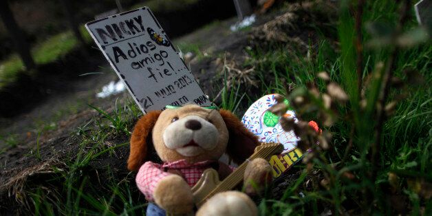 A stuffed toy is seen next to a headstone that