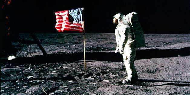 United States astronaut Buzz Aldrin salutes the American flag on the surface of the Moon after he and...