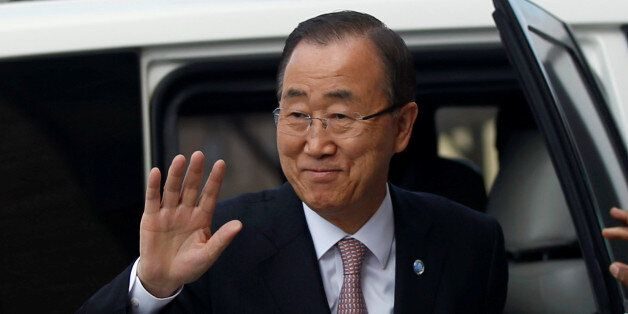 U.N. Secretary-General Ban Ki-moon arrives to visit a Qatari-funded rehabilitation and artificial limbs...