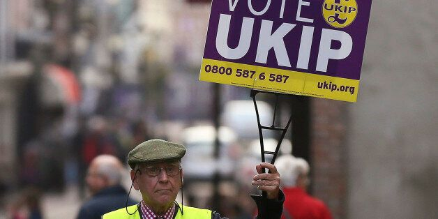 United Kingdom Independence Party (UKIP) supporter Graham Harper walks his dog Roque as he canvasses...