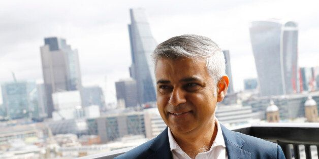 Mayor of London Sadiq Khan visits a new viewing platform during the unveiling of the New Tate Modern...