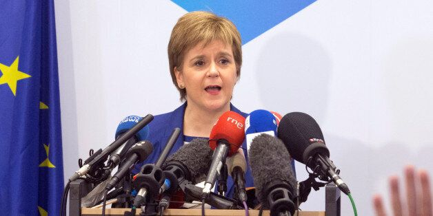 Scotland's First Minister Nicola Sturgeon addresses a news conference in Brussels, Belgium, June 29,...