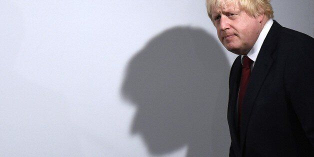 Vote Leave campaigner Boris Johnson arrives for a press conference at Vote Leave headquarters in London...