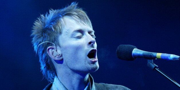 Thom Yorke, lead singer of 'Radiohead' performs at the Glastonbury Festival, Somerset, June 28, 2003....