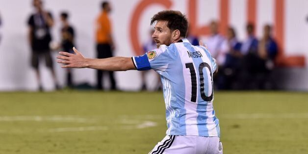 Argentina's Lionel Messi gestures during the Copa America Centenario final against Chile in East Rutherford,...