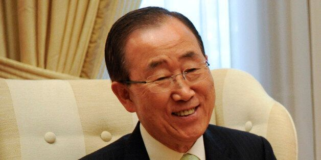 U.N. Secretary-General Ban Ki-moon meets with Greek Prime Minister Alexis Tsipras (not pictured) at the...