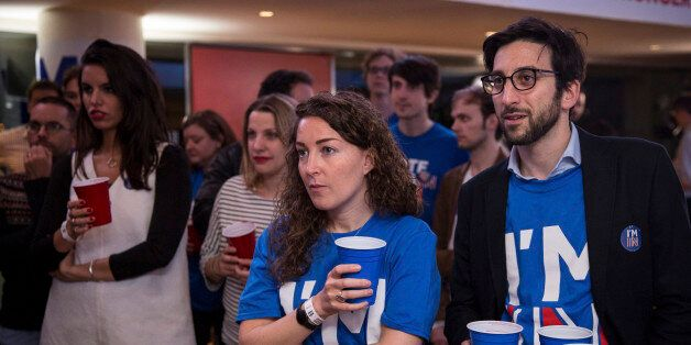 Supporters of the Stronger In Campaign react as results of the EU referendum are announced at the Royal...