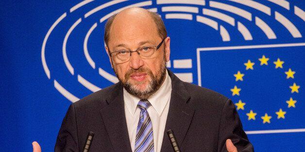 European Parliament President Martin Schultz speaks during a media conference at European Parliament...
