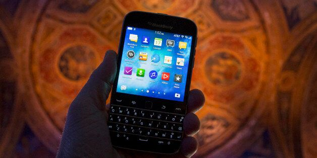The new Blackberry Classic smartphone is shown during a display at the launch event in New York, December...