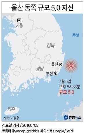 울산 동쪽 해상에서 '역대 5위'인 규모 5.0 지진이