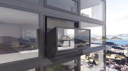 이 창문은 몇 초만에 발코니로 변한다