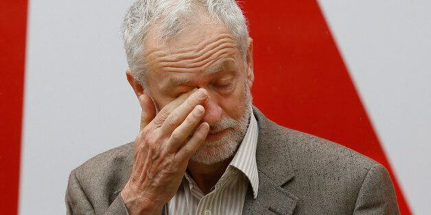 Jeremy Corbyn, Leader of Britain's Labour Party wipes his eye at the launch of 'Labour In for Britain',...