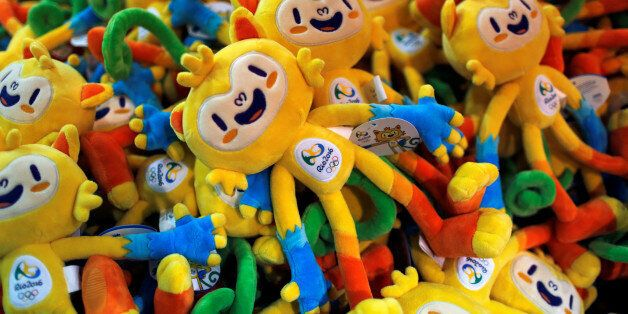 Rio 2016 Olympics mascot Vinicius dolls are seen during the opening of Rio 2016 Olympics megastore on...