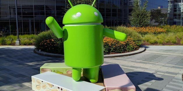 This photo provided by Google shows the Android Nougat statue, officially unveiled Thursday, June 30,...