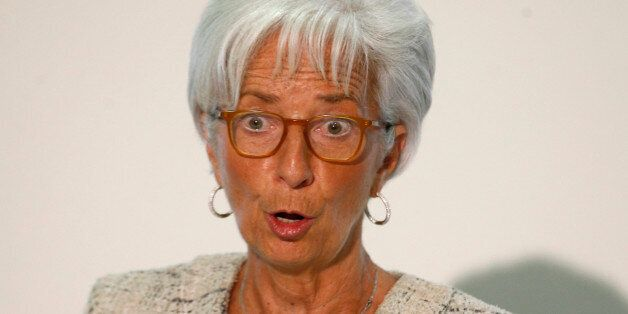 Christine Lagarde, Managing Director of the IMF, answers a question during a press conference, at the...