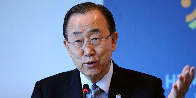 United Nations Secretary General Ban Ki-moon speaks during a side event