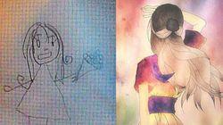 미술을 배우기 전과 후에 그린 그림을 비교하다