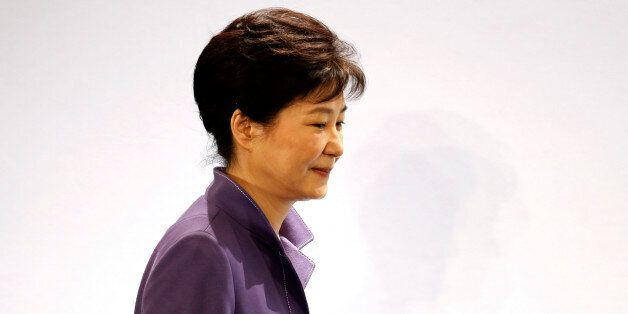 South Korean President Park Geun-hye arrives at an economic forum with French employer's body MEDEF union...