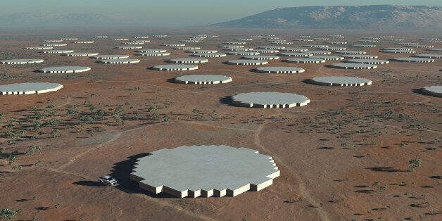 The Square Kilometre Array (SKA) radio telescope project is seen in his artists impression image made...