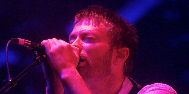 Radiohead's frontman Thom Yorke performs at Liberty State Park inJersey City, New Jersey August 16, 2001....