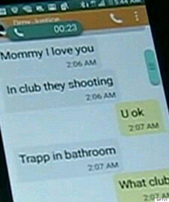 올랜도 클럽 총격 당시 화장실에 숨어 있던 아들과 엄마의 문자 메시지가