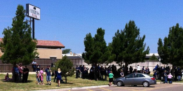 This photo provided by ABC7 KVII shows the scene where police say officers are responding to
