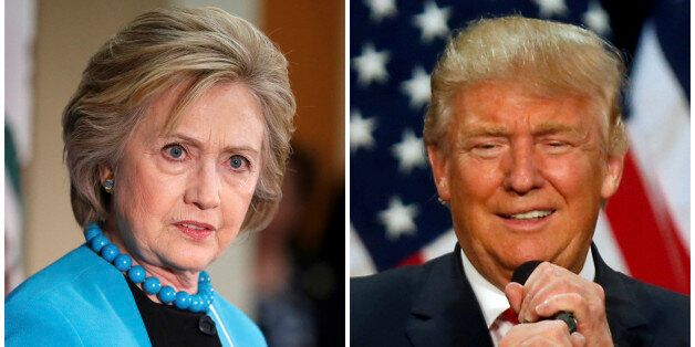 A combination photo shows U.S. Democratic presidential candidate Hillary Clinton (L) and Republican U.S....