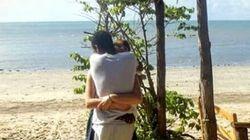 한 커플이 포옹하는 평범한 장면이 엄청난 착시를