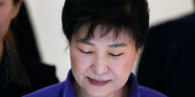 South Korea's president Park Geun-hye, visits an exhibition on South Korea's culture, at the Bercy Arena,...
