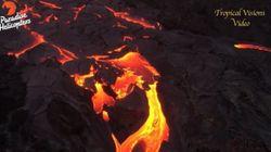 지난주에 분출을 시작한 하와이 화산을 헬기에서