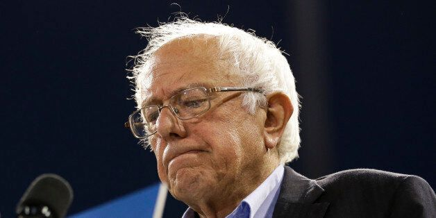 Democratic presidential candidate Sen. Bernie Sanders, I-Vt., pauses while speaking at a rally on Tuesday,...