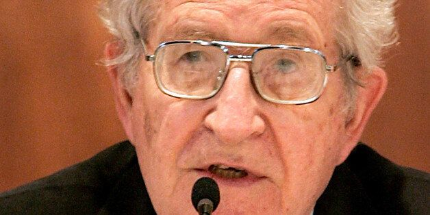 ** CORRECTS NAME TO NOAM ** U.S. linguist and political activist Noam Chomsky speaks during a lecture