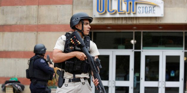 A Los Angeles Metro Police officer stands watch on the University of California, Los Angeles (UCLA) campus...