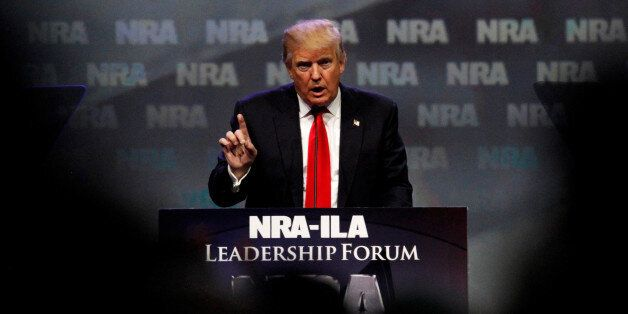 Republican presidential candidate Donald Trump addresses members of the National Rifle Association's...