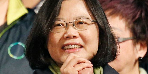 FILE - In this Jan. 16, 2016, file photo, Taiwan's Democratic Progressive Party, DPP, presidential candidate...
