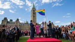 캐나다 국회에 LGBT 지지 레인보우 깃발이