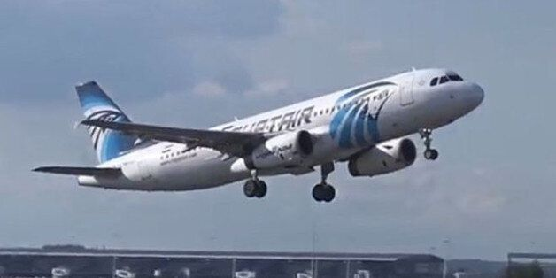 A still image from video released May 19, 2016 shows EgyptAir Airbus A320 SU-GCC taking off at Brussels,...