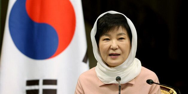 South Korean President Park Geun-hye speaks to the media in a joint press conference with Iranian President...
