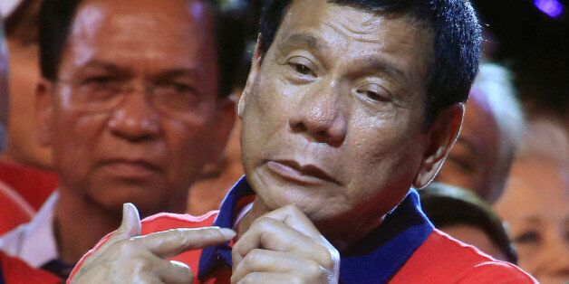 Philippine presidential candidate and Davao city mayor Rodrigo 'Digong' Duterte gestures during