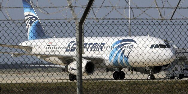 A hijacked Egyptair Airbus A320 airbus stands on the runway at Larnaca Airport in Larnaca, Cyprus , March...